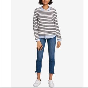 Tommy Hilfiger Striped Pullover Layered Top Sz M
